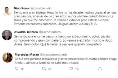 Gino Renni, Osvaldo Santoro y Mercedes Moran le dedicaron emotivas palabras a Hugo Arana