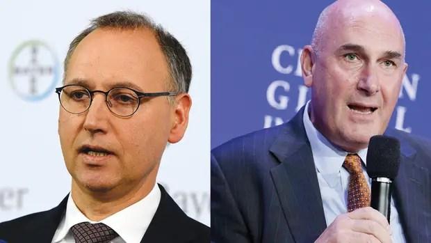 Werner Baumann, presidente ejecutivo de Bayer y Hugh Grant, presidente de la junta de Monsanto