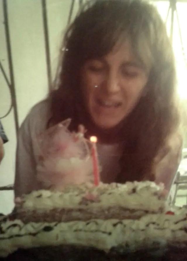 Nora Báquer en uno de sus cumpleaños