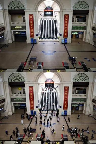 Imagen combinada del vestíbulo de la estación de ferrocarriles de Hankou en Wuhan, provincia de Hubei, en el centro de China, el 7 de abril de 2020 (arriba) y el 8 de abril de 2020 (abajo)