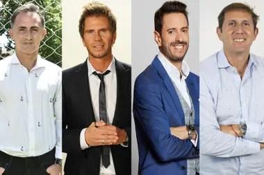 Diego Latorre y Sebastián Vignolo, de Fox Sports Premium, y Pablo Giralt y Juan Pablo Varsky, de TNT Sports.