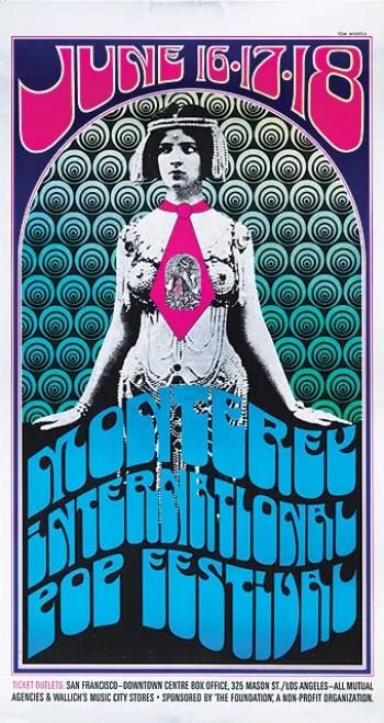 La exposición en el Met también incluye pósters como este del Monterey Pop Festival de 1967