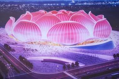La imagen de proyecto del nuevo estadio que se comenzó a construir en China y que será el más grande del mundo, con capacidad para 100.000 personas.