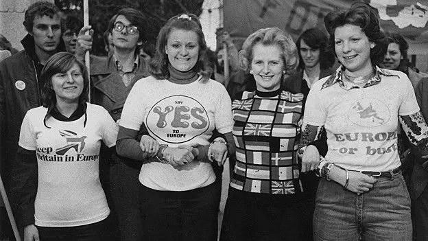 Margareth Thatcher estaba todavía en la oposición cuando se celebró el referendo de 1975 y apoyó la permanencia