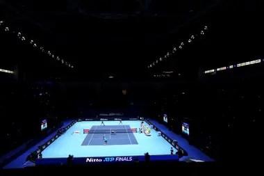 Aunque sin público, una imagen panorámica del fabuloso O2 Arena de Londres, escenario del Masters desde 2009; a partir de 2021, el torneo se mudará a Turín, Italia.
