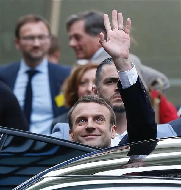 Macron, ayer, en París
