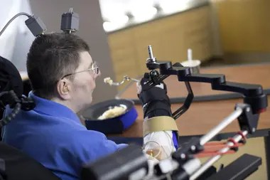 Thirteen paralyzed people use the BrainGate system, the first brain-computer interface; a silicon chip implanted in the brain allows them to execute actions with thought