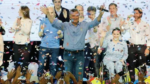 Mauricio Macri en el búnker de Cambiemos
