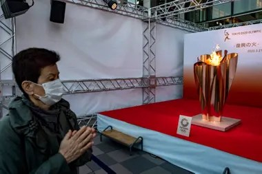 Olympic torch on display.