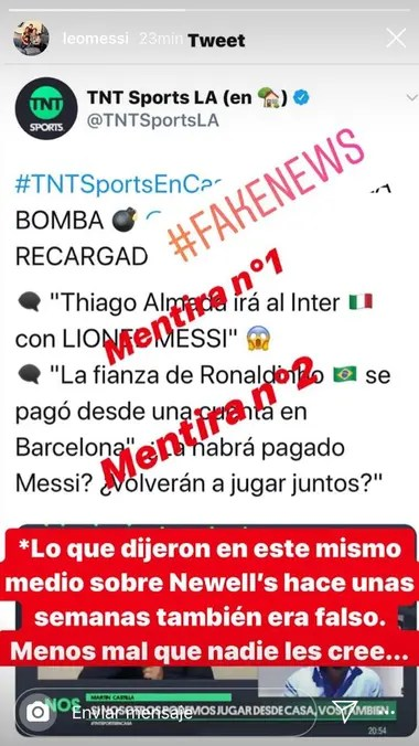 La publicación que Lionel Messi hizo a través de una historia de Instagram para desmentir su pase a Inter de Italia.