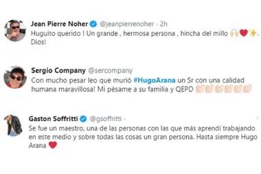 Jean Pierre Noher, Sergio Company, Gastón Soffritti también despidieron de Hugo Arana con cálidas palabras