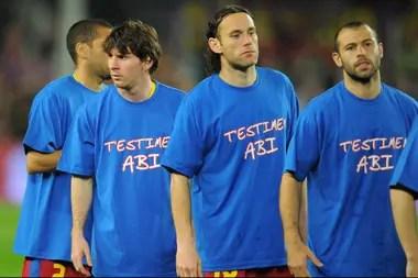 Junto a Lionel Messi, Mascherano y Milito durante la época en que coincidieron en Barcelona (2010-2011).
