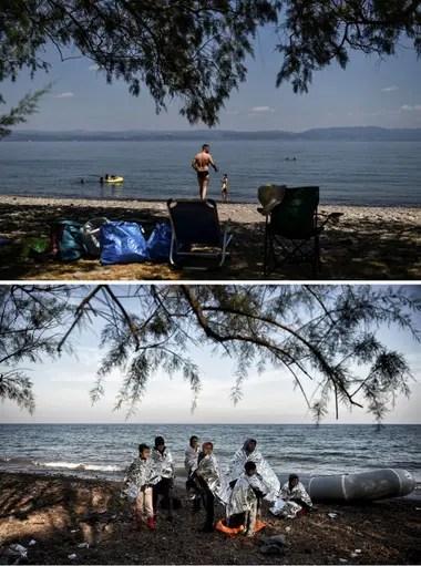 Una imagen actual de la playa, que no logra recuperar el turismo de antaño; abajo, en 2015, cuando llegó el mayor flujo de inmigrantes