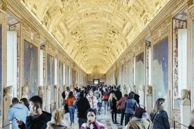 La Galería de Mapas en el Vaticano en la Ciudad del Vaticano