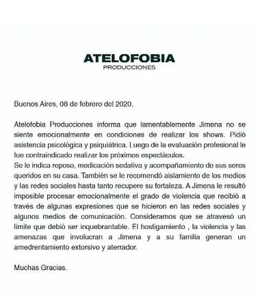 El comunicado difundido por la productora Atelofobia acerca del estado de salud de Jimena Barón