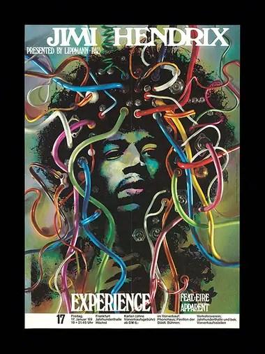 Póster vintage que promociona el recital de 1969 de Jimi Hendrix Experience en Fráncfort, Alemania