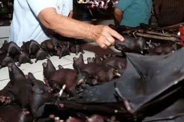 Se venden murciélagos en un mercado indonesio este mes