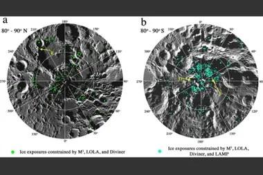 La mayor parte del hielo recién descubierto se encuentra en las sombras de los cráteres cerca de los polos