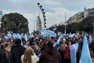 La manifestación porteña es en la zona del Obelisco