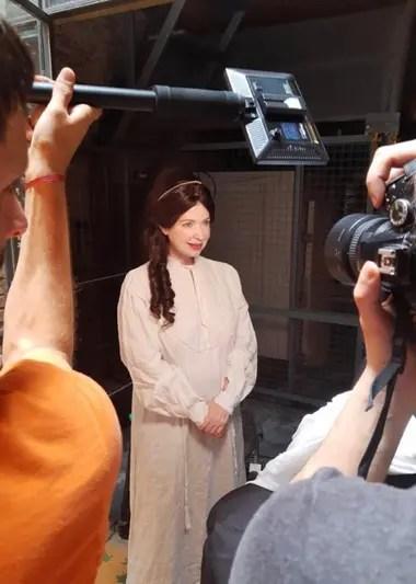 Andrea del Boca se unió al proyecto caracterizada como Mariquita Sánchez de Thompson
