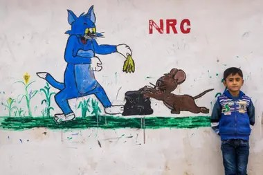 Una pintura de Tom y Jerry en el campo de refugiados Domiz de Irak en 2014