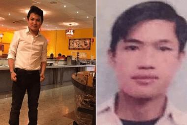 Los primos Hoang Van Tiep (i) y Nguyen Van Hung murieron juntos en el remolque del camión