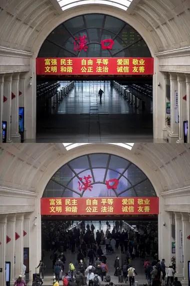 El vestíbulo de la estación de ferrocarriles de Hankou en Wuhan, provincia de Hubei, en el centro de China, el 7 de abril de 2020 (arriba) y el 8 de abril de 2020 (abajo)