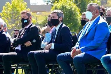 Tinelli, Lammens y Tapia, durante la presentación de la Copa Liga Profesional. La AFA rescindió el contrato con Fox Sports.