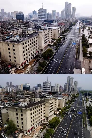 Vista aérea combinada de la avenida Yanjiang en el distrito de Hankou de Wuhan, provincia de Hubei, en el centro de China, el 26 de enero de 2020 (arriba) y el 8 de abril de 2020 (abajo)