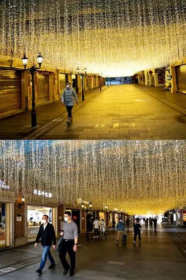 Imagen combinada de la calle Chuhehan en Wuhan, provincia de Hubei, en el centro de China, el 26 de enero de 2020 (arriba) y el 8 de abril de 2020 (abajo)