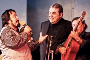 Horacio Guarany con su amigo Alberto Cortez en el festival de Cosquín