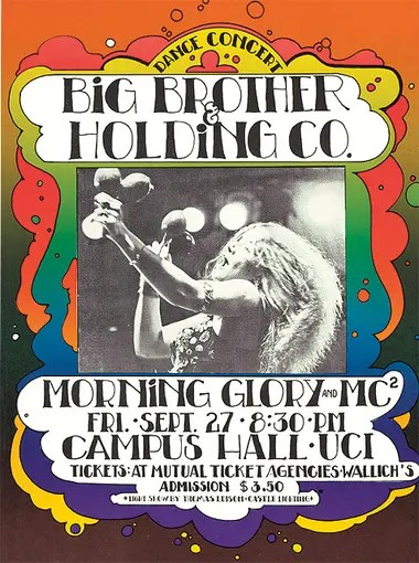 Un póster del show de Janis Joplin con Big Brother and the Holding Company en la Universidad de California, 1968.