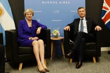 La primera ministra británica, Theresa May, y el presidente Macri