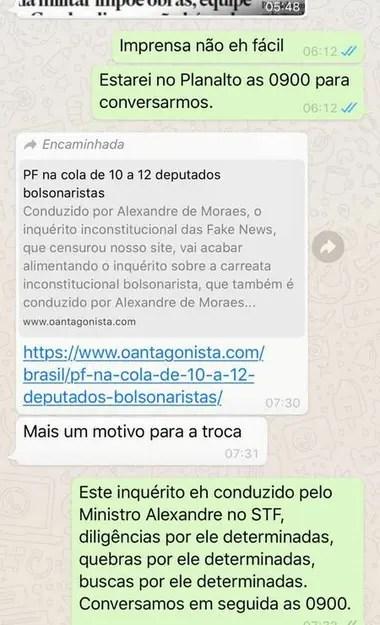 presentó a la televisión un intercambio de Whatsapp con Bolsonaro en el cual el jefe de Estado parece ejercer presiones para el reemplazo del jefe de la Policía Federal.