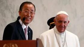 Francisco fue recibido por Ban Ki-moon y saludos a los empleados de la ONU