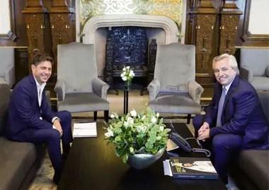 Axel Kicillof y Alberto Fernández, en el despacho presidencial de la Casa Rosada