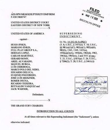 La carátula del juicio que se sigue en Estados Unidos contra dirigentes de la FIFA y de las empresas televisivas