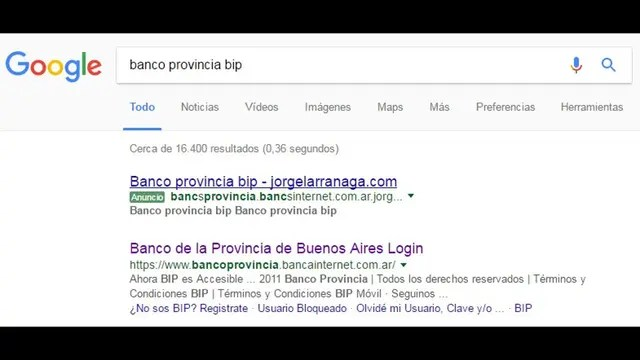 El resultado falso que aparecía en Google