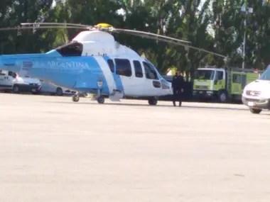 El helicóptero que trasladó a Cristina Kirchner al acto