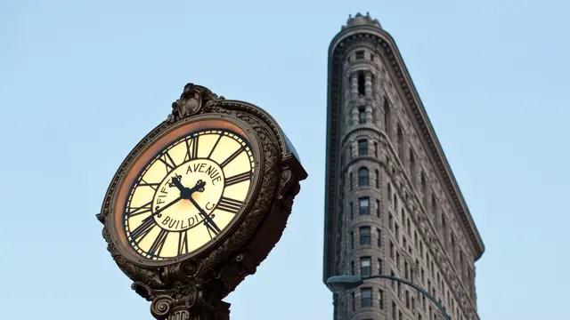 Frente al Flat Iron de Nueva York