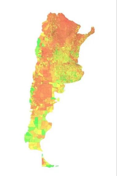 El mapa de calidad de vida elaborado por el Conicet