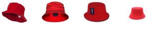 Red bucket hats