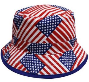 Satin lined bucket hat- Stars and stripes