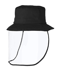 Bucket hat with face shield for men
