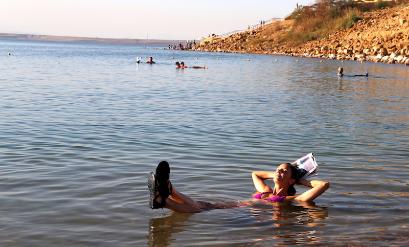 Annette White Floating in the Dead Sea in Jordan