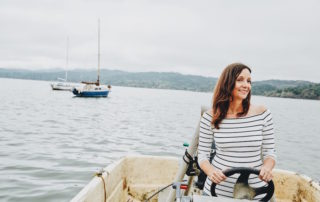 Annette White sailing a lobster boat in Point Reyes