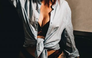 Comfy black bra covered with a denim shirt