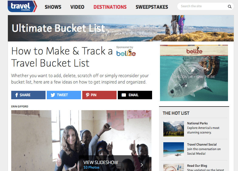 Annette While featured on the Travel Channel website