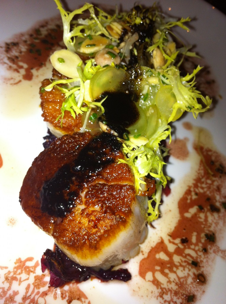 seared sea scallops at nobhill tavern