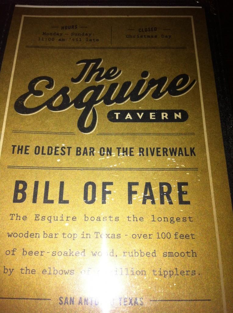 The Esquire Tavern Menu